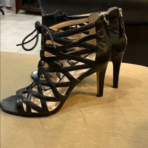 Nine West black strappy heels shoes size 7.5M